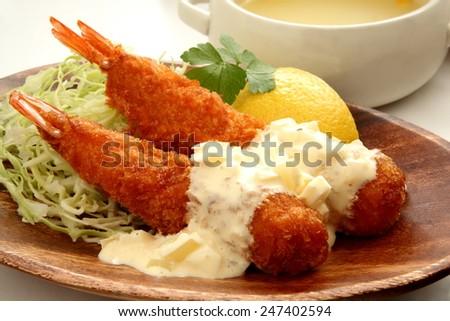 Fried prawn - stock photo