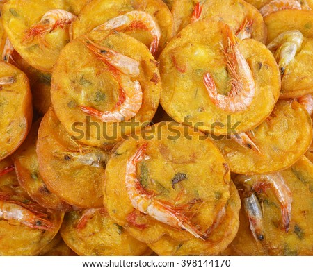 Fried prawn fritters or Cucur Udang in Malaysian language, a popular ...