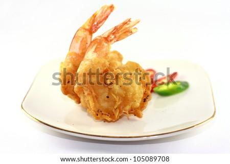 fried prawn on white plate - stock photo