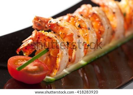 Fried Prawns Dish with Cherry Tomato - stock photo