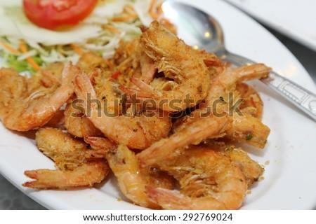 fried prawns with salt and chili - stock photo