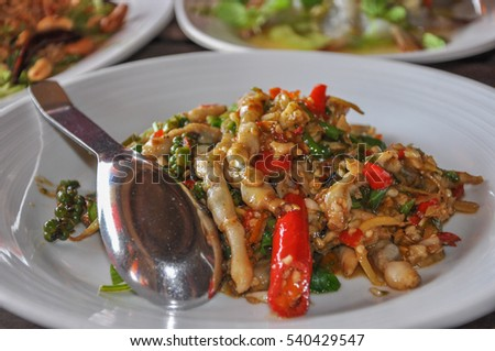 Fried razor clams with chili