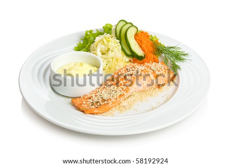 Fried red fish with sesame, sauce and vegetable side dish. Isolated on white by clipping path.
