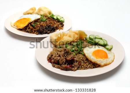 Fried Rice and Fried Noodle - stock photo