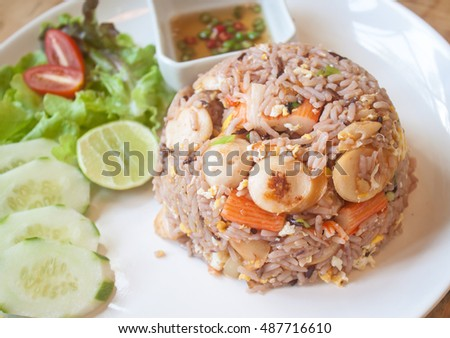 fried rice sausage crab