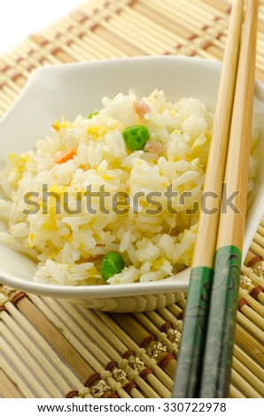 Fried rice, traditional chinese recipe, cantonese food - stock photo