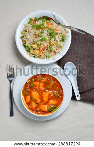 Fried rice with chicken curry - stock photo