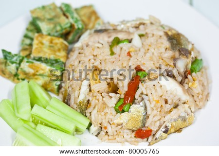 Fried rice with fish curry,thai food
