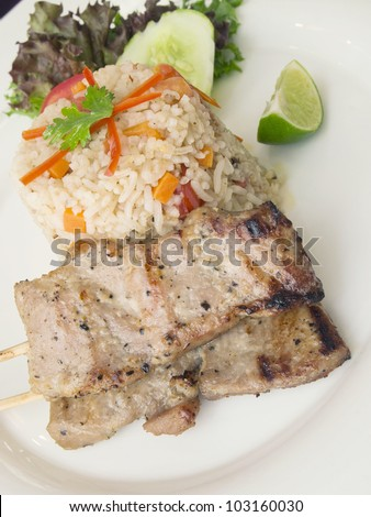 Fried rice with grilled pork
