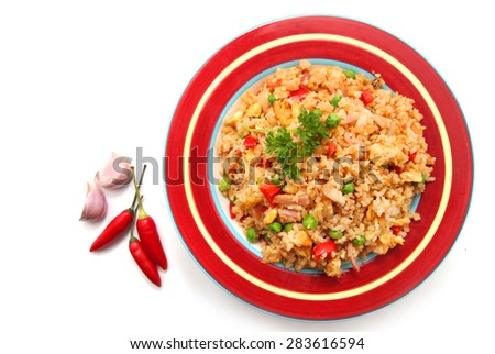Fried Rice with ingredients isolated on white - stock photo