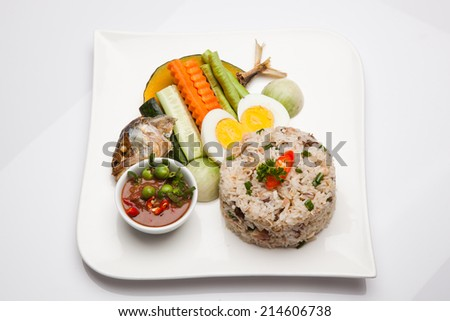 Fried rice with mackerel