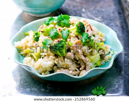 fried rice with pork and vegetables. Thai cuisine. selective focus. - stock photo