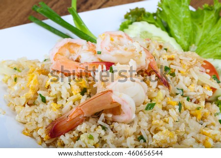 Fried rice with prawn herbs and vegetables
