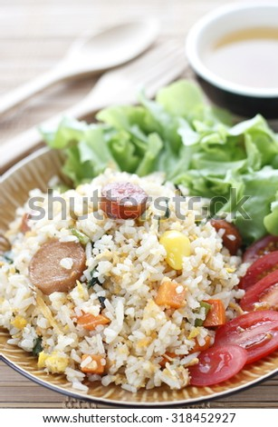 fried rice with sausage.