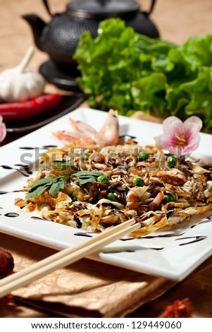 Fried Rice with Seafood and Mushrooms