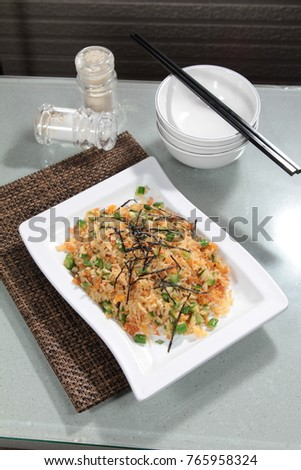fried rice with seafood or meat