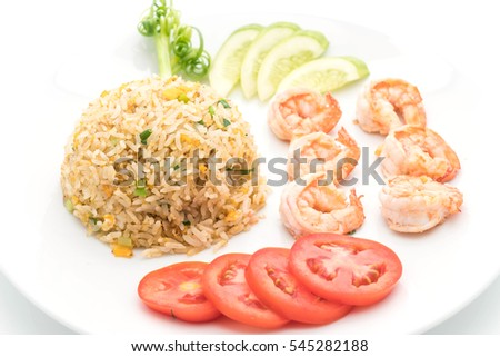 fried rice with shrimps on white background