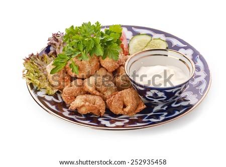 fried russian dumplings - stock photo