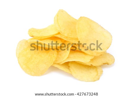 Fried salted potato chips isolated on white background - stock photo