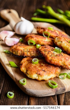 Fried Savory Tuna Pancakes With Potato Onion And Garlic