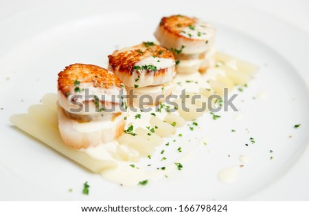 Fried scallops with white asparagus and cream sauce - stock photo