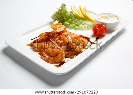 Fried shrimp - stock photo