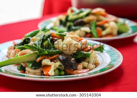 Fried shrimp - stock photo