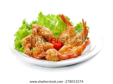 Fried shrimp ball on white background. - stock photo