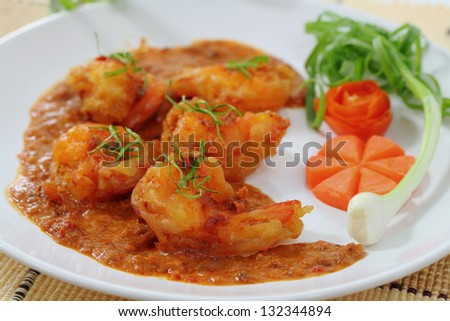 Fried shrimp curry sauce, Thai food style. - stock photo
