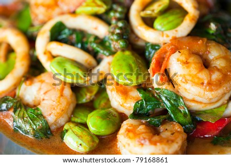 Fried shrimp curry with vegetables - stock photo