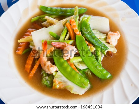 Fried shrimp / prawn with vegetable in oyster sauce - stock photo