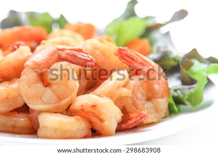 Fried Shrimp with chilli peper on the white background