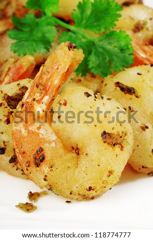 fried Shrimp with garlic and black pepper,thai food