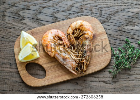 Fried shrimps - stock photo