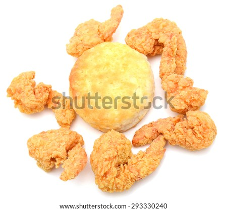 fried shrimps and biscuit on white background