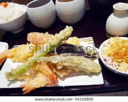 Fried Shrimps set ,Tempura Japanese cuisine - stock photo