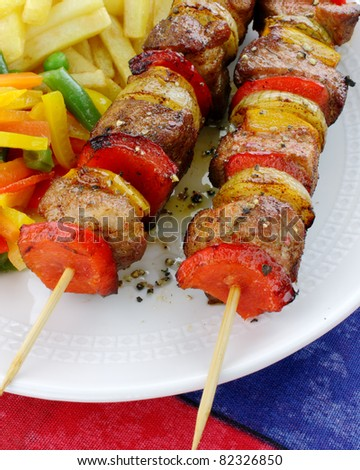 Fried skewers - stock photo