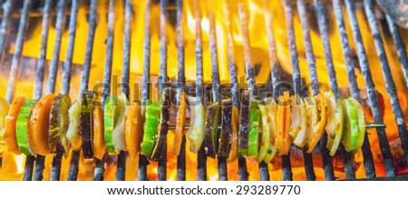 Fried skewers Grilled Vegetables on the BBQ. Background eat Barbecue Grill Vegetable. - stock photo
