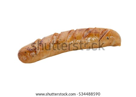 Fried smoked sausage or wurst isolate on white background.