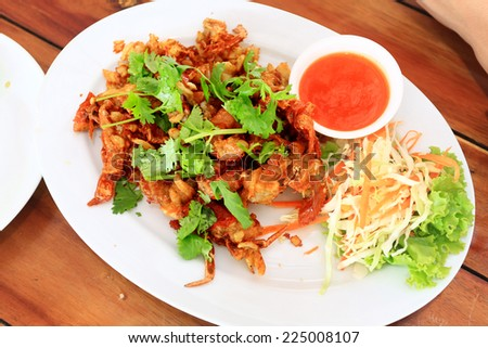 Fried Soft shell crab with garlic and pepper