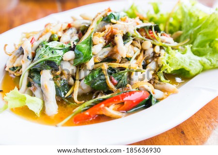 Fried Spicy Herbal Vegetables With Razor Clams Thai Food Local in SamutSongKhram Province Thailand
