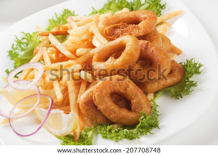 Fried squid rings with french fries and lettuce - stock photo