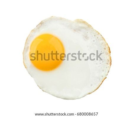 Fried sunny side up egg on white background