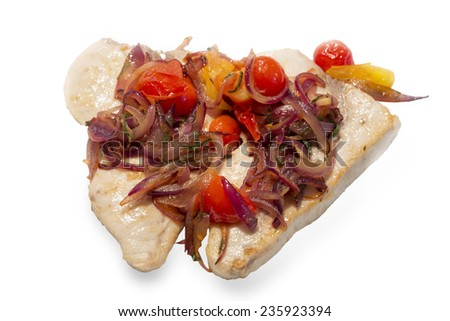 Fried sword fish with onions isolated on white - stock photo