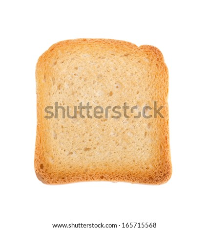 Fried toast biscuit breakfast. Close up on white background. - stock photo