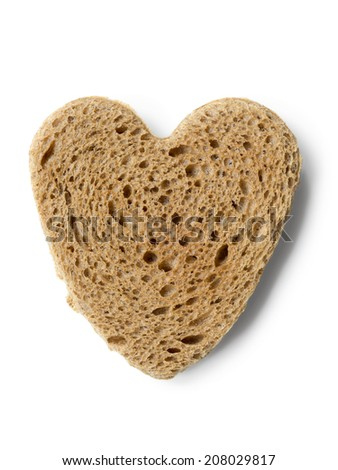 fried toast in shape of heart isolated on white