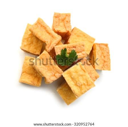 fried tofu on a white background  - stock photo