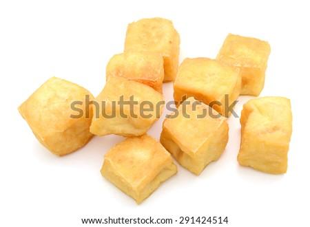 fried tofu on white background  - stock photo