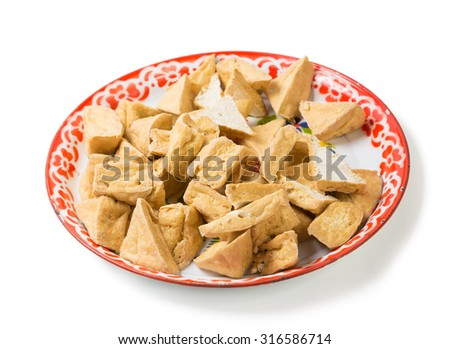 fried tofu or bean curd in tray traditional thai ingredient for food - stock photo