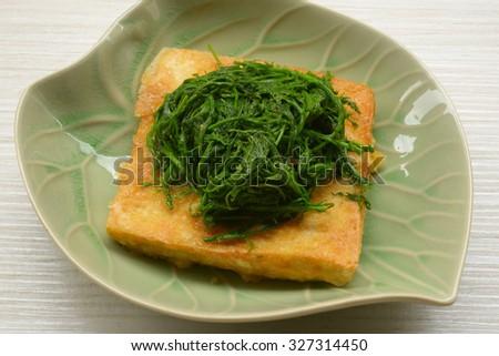 Fried tofu vegetable vegetarian food - stock photo